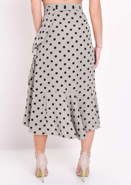 Polka Dot And Check Print Wrap Ruffle Midi Skirt Beige
