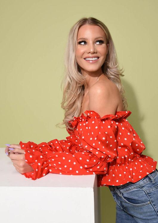 Polka Dot Frill Bardot Crop Top Red