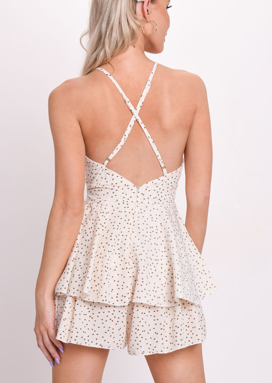 Polka Dot Frill Deep V Neck Playsuit Beige