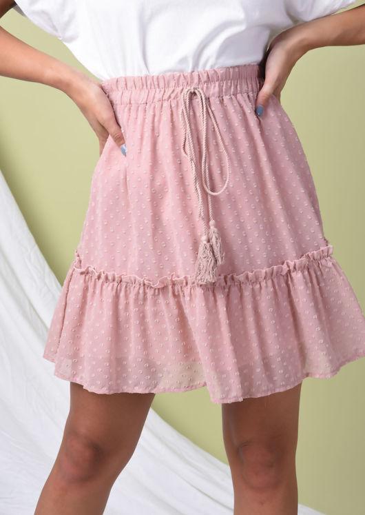 Polka Dot Frill Hem Elasticated Ruffle Mini Skirt Pink