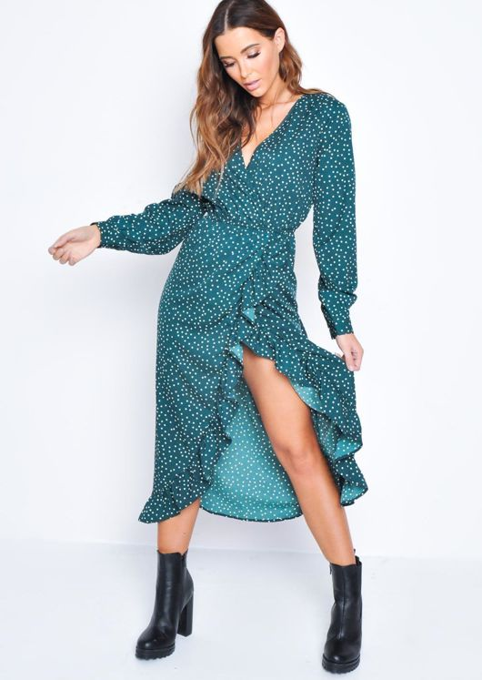 Polka Dot Frill Wrap Front Midi Dress Green