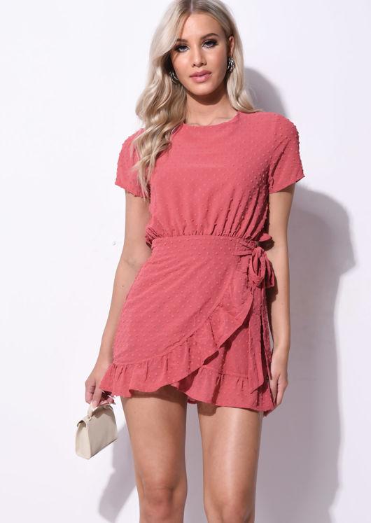 Polka Dot Frill Wrap Front Mini Dress Pink