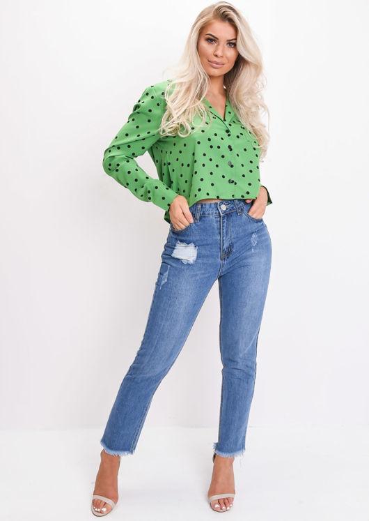 Polka Dot Long Sleeve Cropped Pyjama Shirt Green