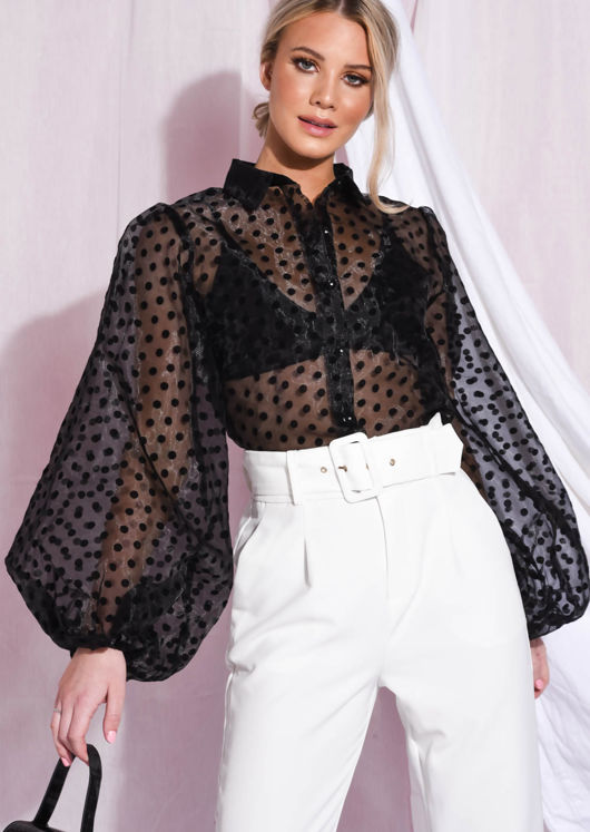 Polka Dot Organza Blouse Top Black