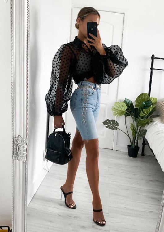 Sheer Polka Dot Organza Blouse Top Black