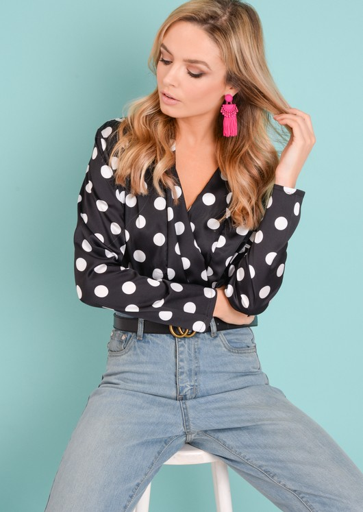 Polka Dot Plunge Satin Bodysuit Black