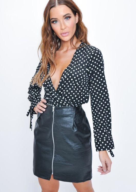 Polka Dot Plunge Wrap Front Tie Cuff Bodysuit Black  b94e65e04