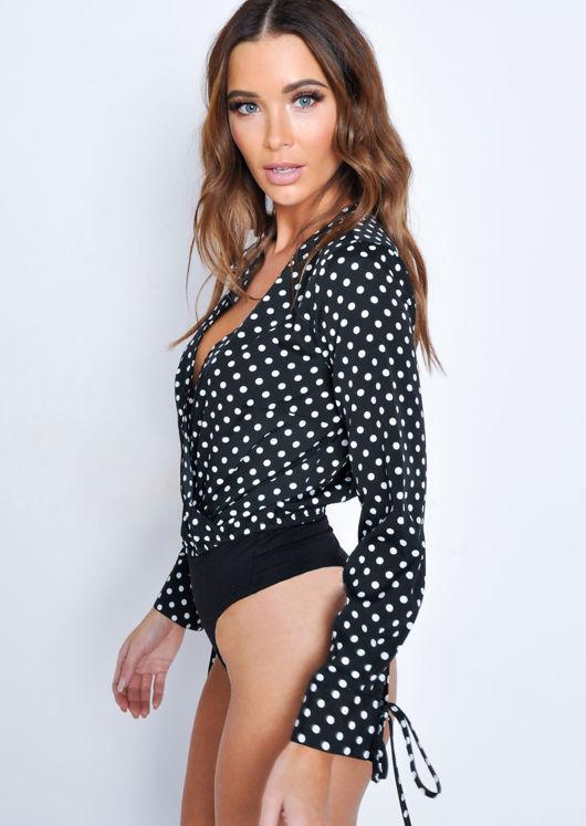 Polka Dot Plunge Wrap Front Tie Cuff Bodysuit Black