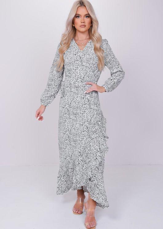 Polka Dot Print Front Split Frill Midi Dress White