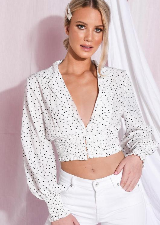 Polka Dot Shirred Collar Crop Blouse White