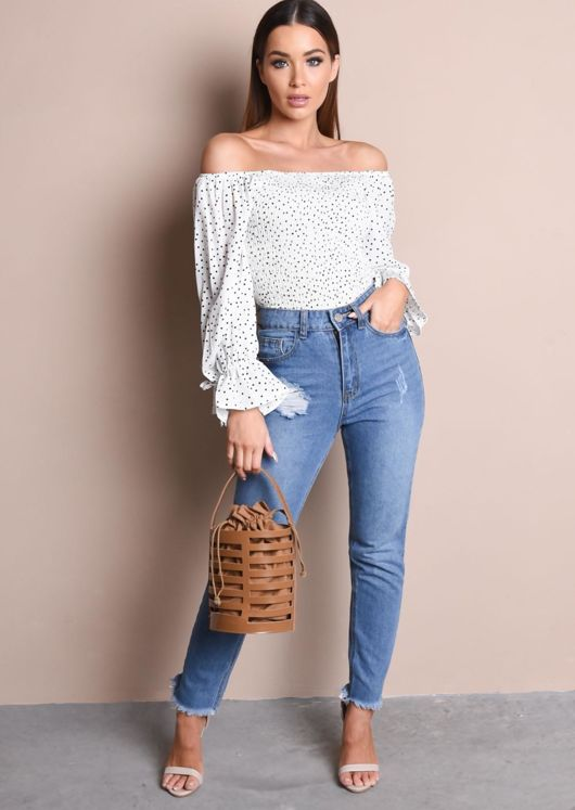 Polka Dot Elasticated Crop Bardot Blouse White