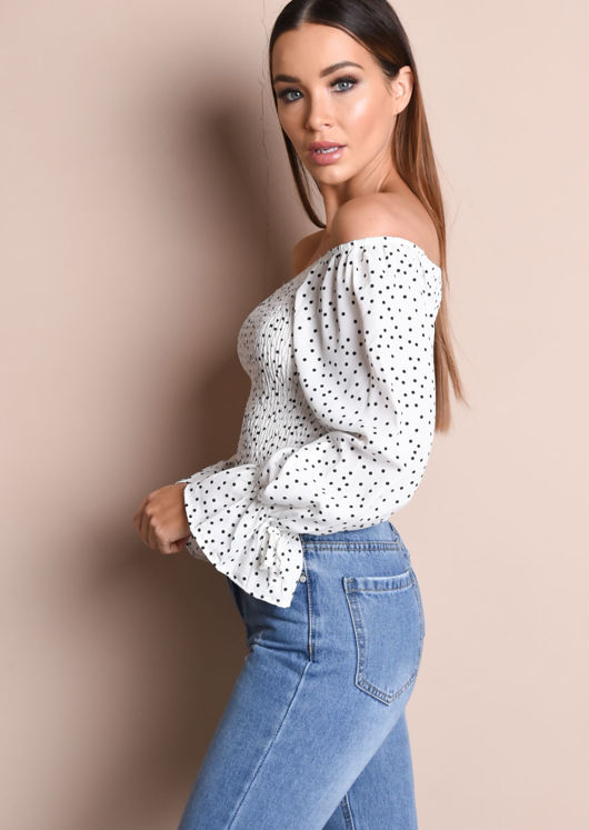 Polka Dot Shirring Crop Bardot Blouse White