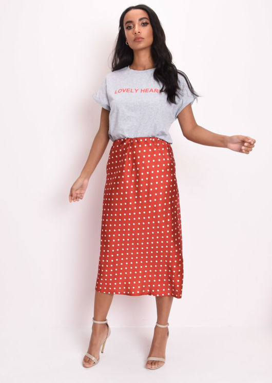 Polka Dot Silky Satin Midi Slip Skirt Red