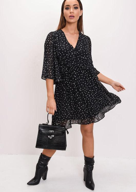 a84692842f6 Polka Dot Chiffon Smock Mini Dress Black
