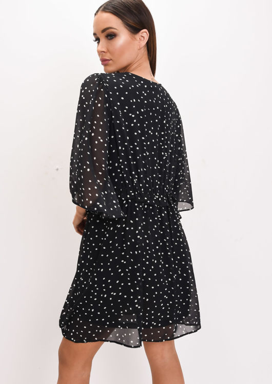 Polka Dot Smock Mini Dress Black