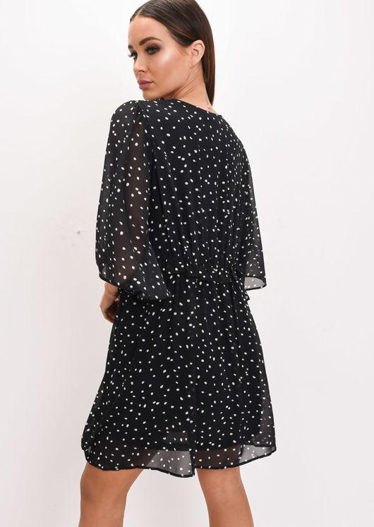 Polka Dot Smock Mini Dress Black