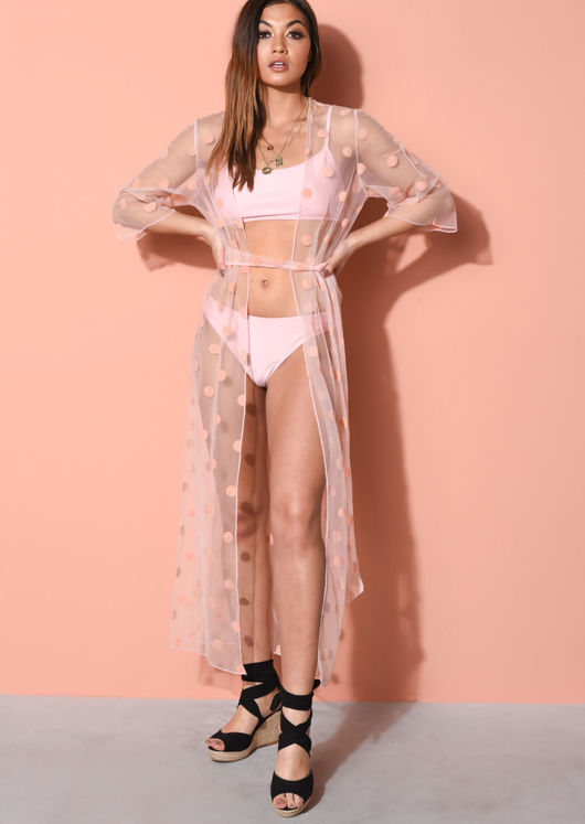 Polka Dot Tulle Belted Kimono Cover Up Pink