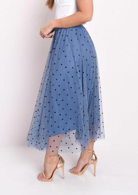 Polka Dot Tulle Mesh Midi Skirt Blue