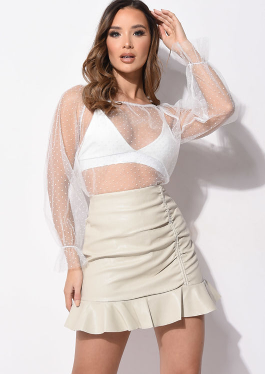 Polka Dot Tulle Mesh Sheer Blouse Top White