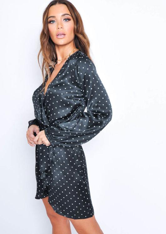 Polka Dot Wrap Front Dress Black