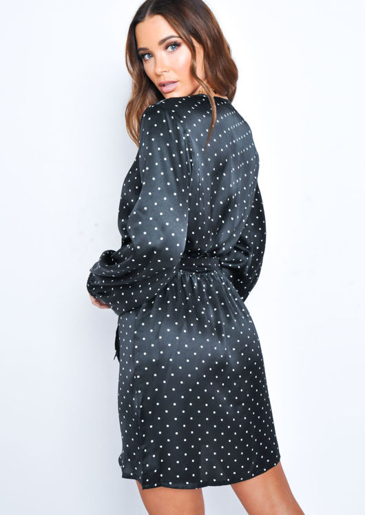 Polka Dot Wrap Front Dress Black