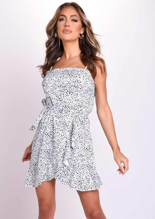 Polka Dot Wrap Over Frill Mini Dress White