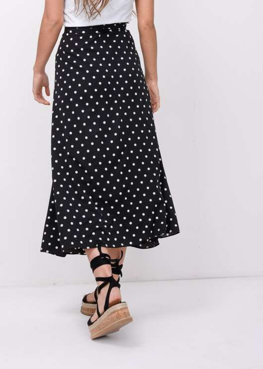 Polka DotWrap Over Midi Skirt Black
