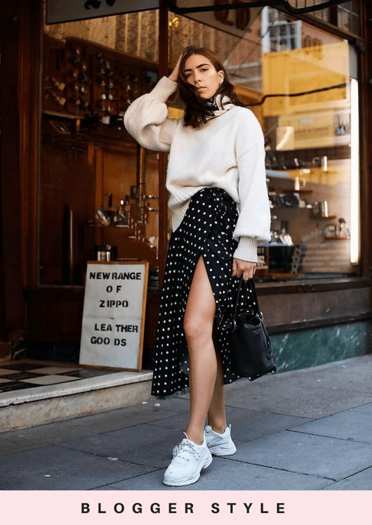 Polka Dot Wrap Thigh Split Midi Skirt Black