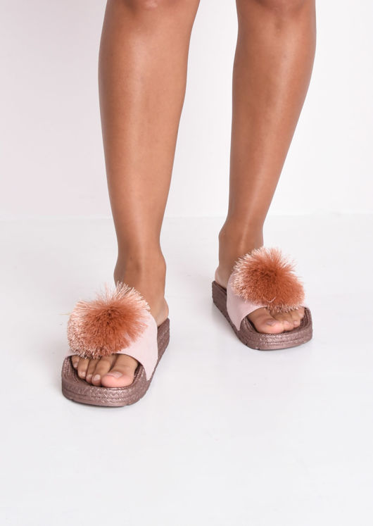 Pom Pom Cleated Sole Platform Slides Rose Gold