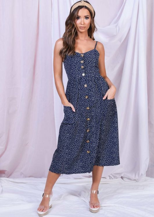 Printed Front Button Through Strappy Midi Dress Navy Blue
