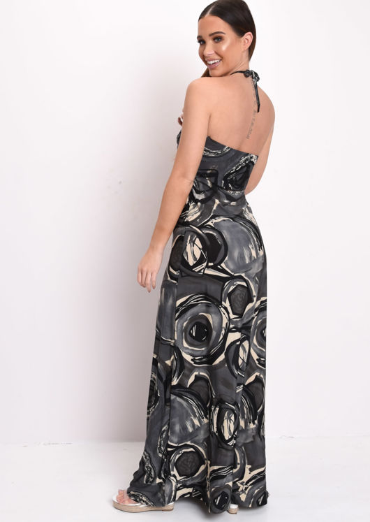 Printed Halterneck Maxi Dress Black