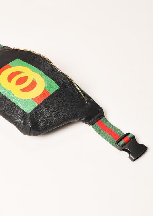 Printed Stripe Bum Bag Black
