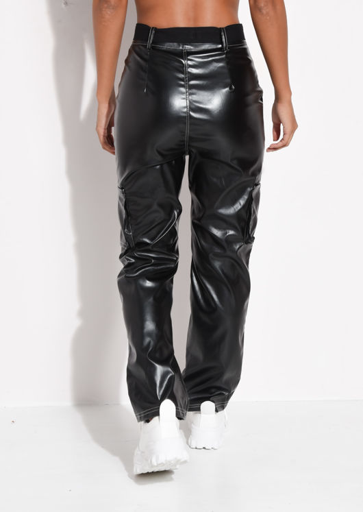 PU Belted Contrast Stitch Utility Trousers Black