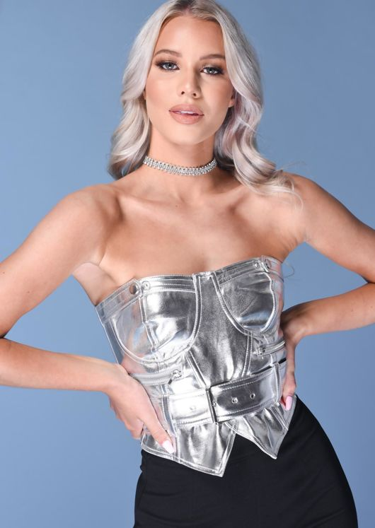 Faux Leather PU Belted Corset Crop Top Silver