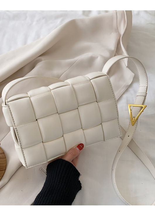 PU Braided Padded Crossbody Purses Box Bag White