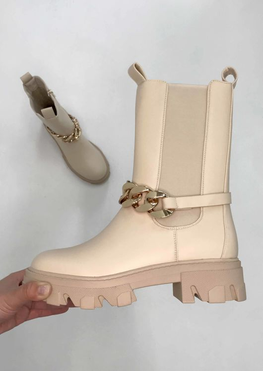 Pu Chunky Detachable Chain Strapped Chelsea Ankle Boots Beige