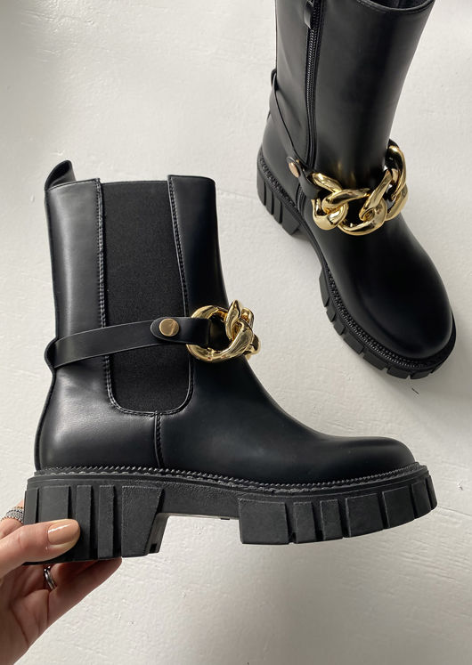 Chunky Chain Strapped Chelsea Mid Calf Boots Black