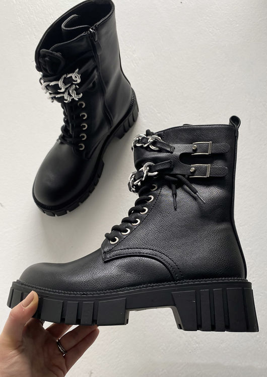 Pu Buckle Chain Strapped Detail Lace Up Ankle Boots Black