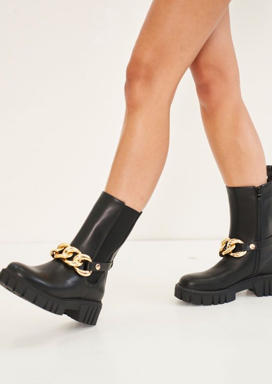 Pu Chunky Chain Strapped Chelsea Ankle Boots Black