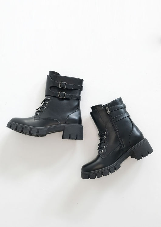 Pu Buckle Strapped Chunky Cleated Lace Up Biker Boots Black
