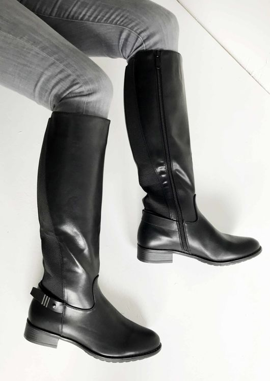 Pu Chelsea Side Strapped Knee High Boots Black