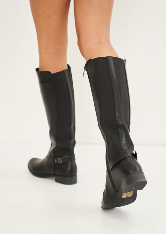 Pu Side Strapped Elasticated Insert Knee High Boots Black