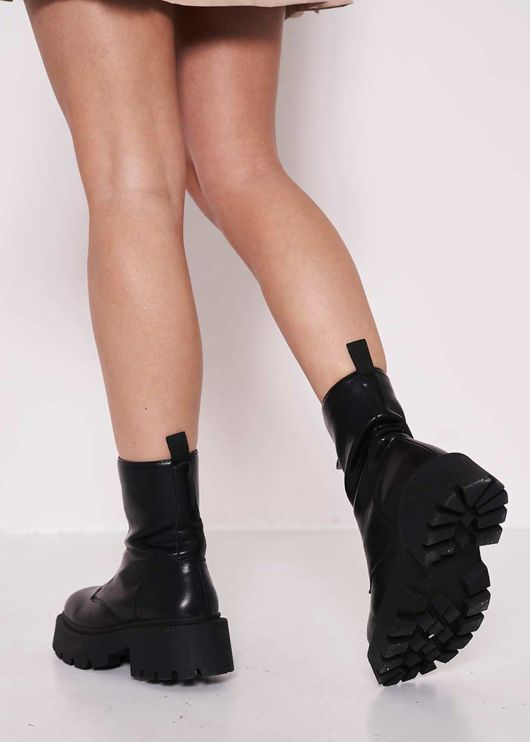 Pu Faux Leather Chunky Cleated Zip Front Biker Ankle Boots Black