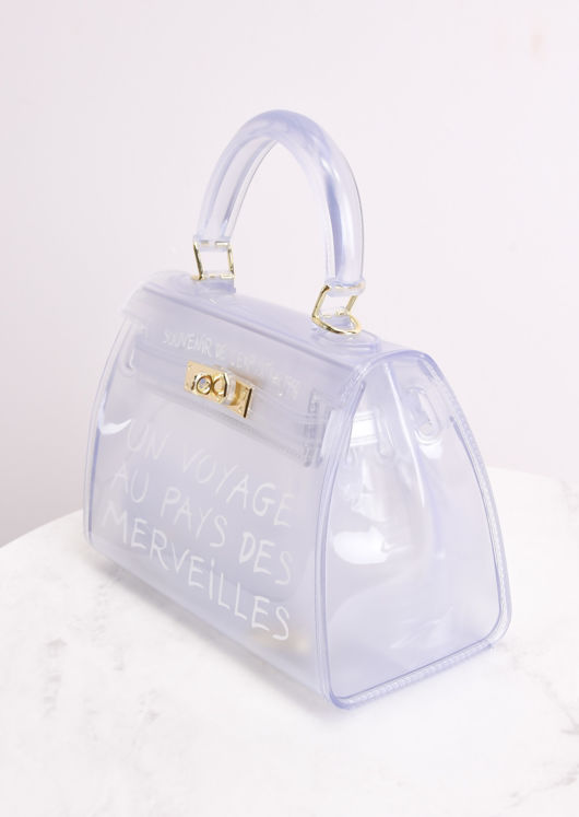 PU Clear French Tote Bag White
