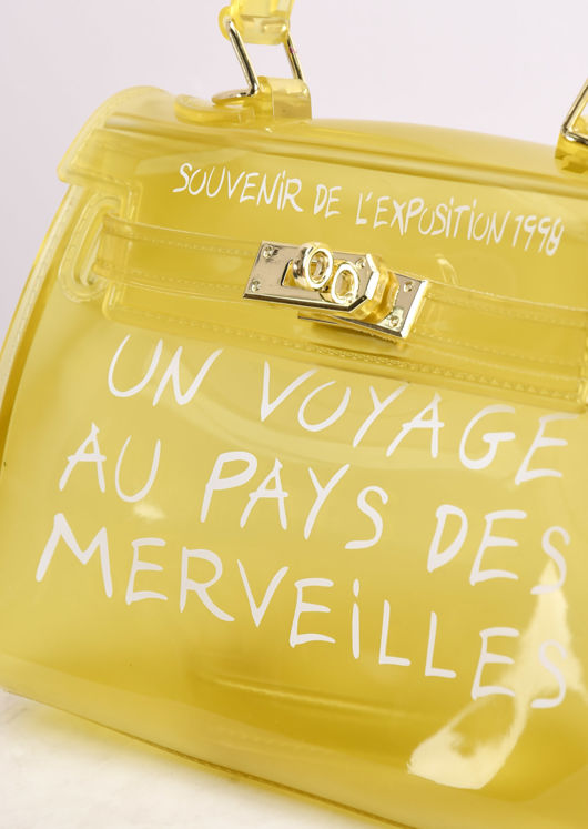 PU Clear French Tote Bag Yellow