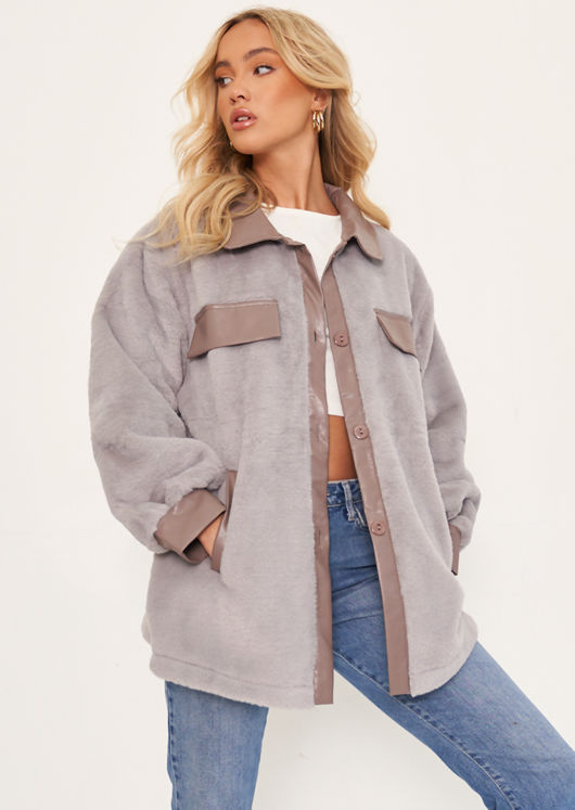 Oversized Pu Collared Fluffy Faux Mink Fur Belted Shacket Coat Grey
