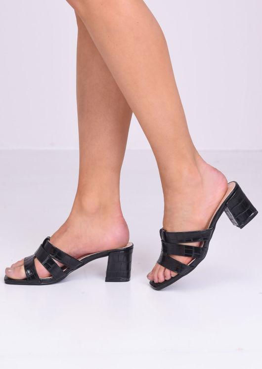 Pu Croc Print Block Mule Heels Black