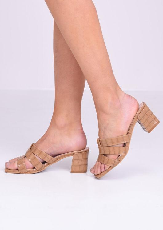 Pu Croc Print Block Mule Heels Brown