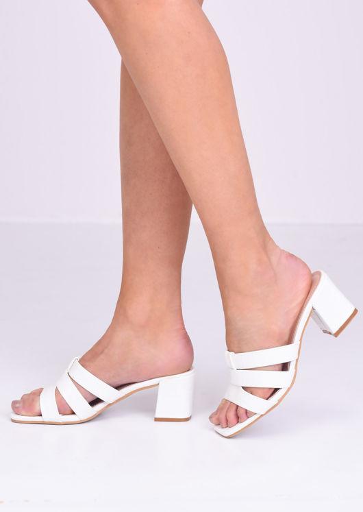 Pu Croc Print Block Mule Heels White