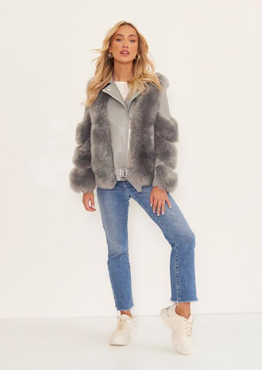 Pu Faux Leather Faux Fur Belt Strapped Biker Jacket Grey